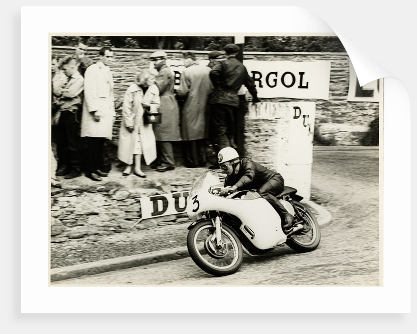 Jack Wood, TT (Tourist Trophy) rider rounding Governor's bend as number 3 by T.M. Badger