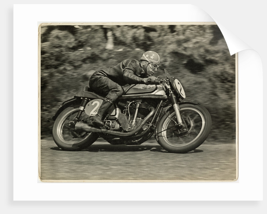 Nick Nicholson, TT (Tourist Trophy) riding Norton (number 2), 1953 (?) Senior TT by T.M. Badger