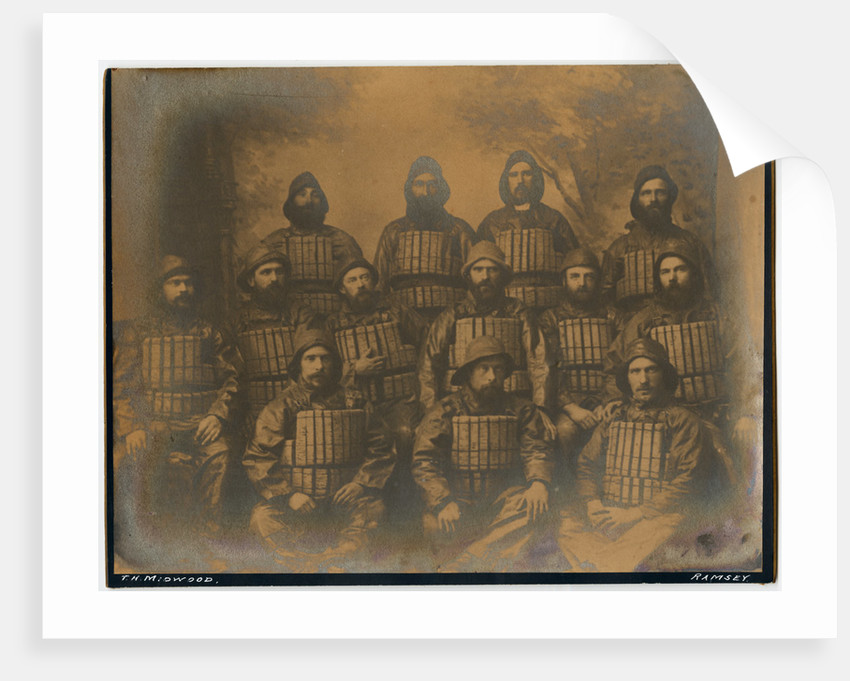 Sepia studio group portrait of named crew of the Two Sisters lifeboat, 1887 by Thomas Horsfell Midwood
