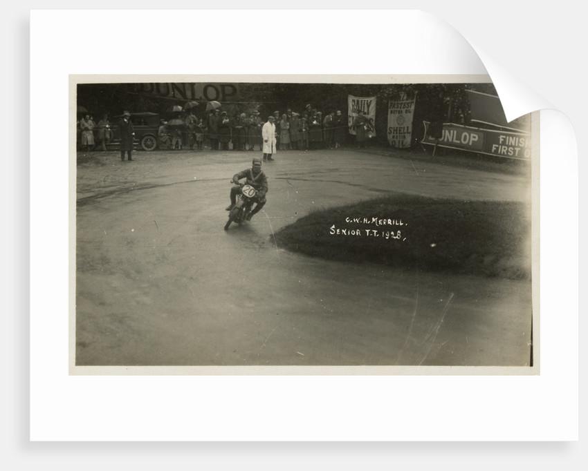 G.W.H. Merrill aboard machine number 20, 1928 Senior TT (Tourist Trophy) by Thomas Horsfell Midwood