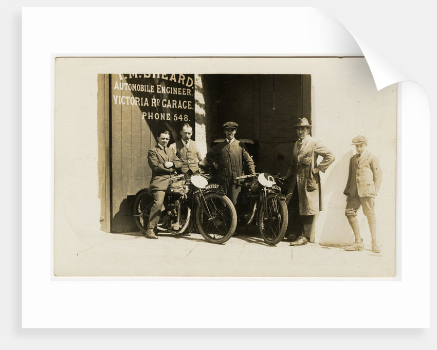 Group of riders and mechanics outside the garage of T.M.Sheard, TT (Tourist Trophy) rider, Automobile Engineer, Victoria Road Garage by Thomas Horsfell Midwood