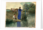 Girl in Blue Dress by Robert Evans Creer