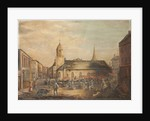 Old St Matthew's Church with Market Stalls by Anonymous