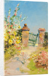 Garden Gate with Hollyhocks by John Miller Nicholson