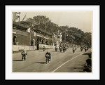 Competitors leaving the start line during the mass start of the 1958 250cc TT (Tourist Trophy) by T.M. Badger