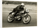 Bob McIntyre, TT (Tourist Trophy) rider, riding as number 16 by T.M. Badger