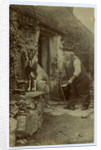 John Kinnish ('Old Pete') outside his cottage - with goat by Thomas Horsfell Midwood