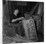 Blind basket weaver at Clucas' by Manx Press Pictures