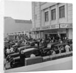 Austin Seven motorcars outside the Crescent cinema by Manx Press Pictures