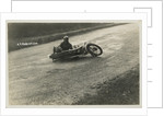 Rider A.J. Robertson on the ground, with his machine laid down on the road beside him, 1925 or 1926 (?) TT (Tourist Trophy) by Thomas Horsfell Midwood