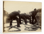 Sailors putting rope on a steamer by Anonymous