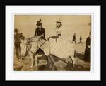 Two women on donkeys, Douglas beach by Anonymous