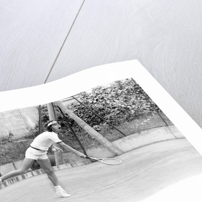 Mick Jagger playing tennis by Peter Stone
