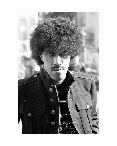 Phil Lynott of Thin Lizzy during a recording session for the groups new album. by Peter Stone