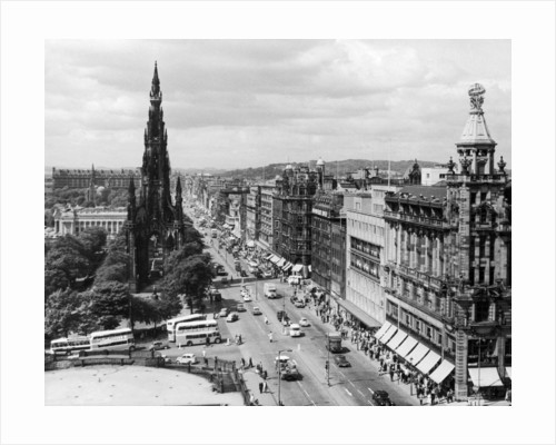 Aerial view of Princes Street in Edinburgh by Anonymous
