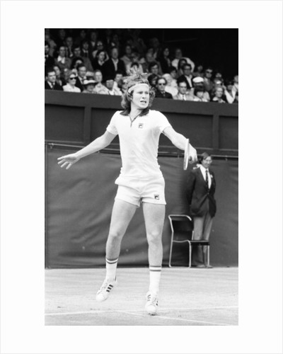 John McEnroe in action on Court One at Wimbledon against Phil Dent by Anonymous