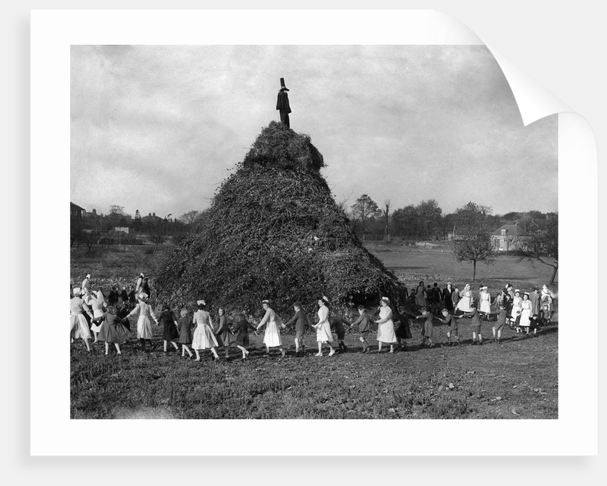 A huge pyre erected in the ground of the Aldersbrook Childrens Home, Wanstead, London by Staff