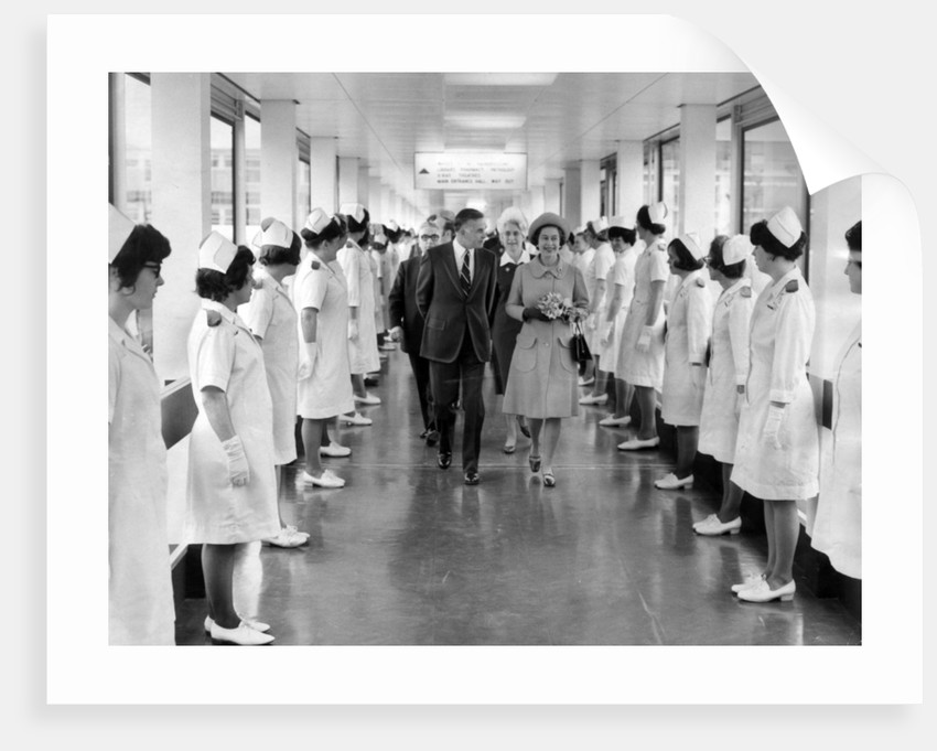 The Queen at  Leighton Hospital 1972 by Manchester Evening News Archive