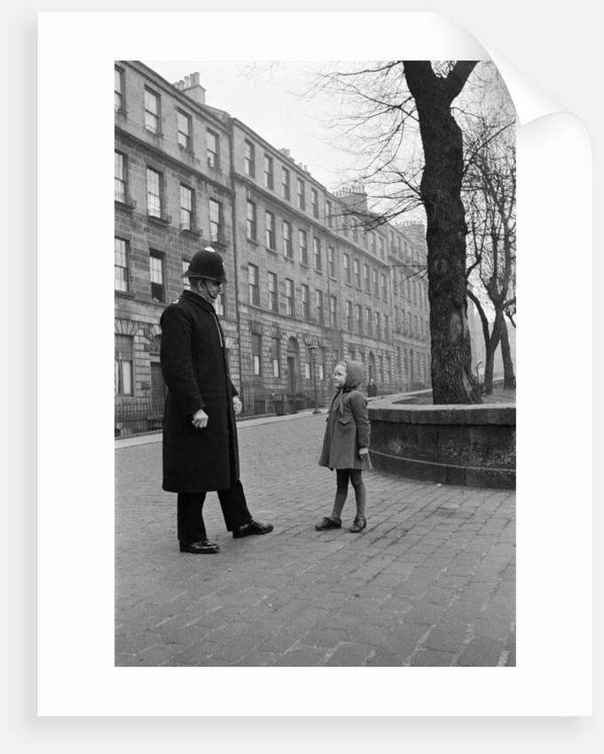 A policeman talking to a small girl, Edinburgh, 1945 by George Greenwell