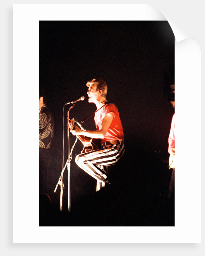 """David Bowie performing on stage during a concert at the Barrowlands in Glasgow on his Tin Machine """"Its My Life"""" tour. by David Cruickshank"""