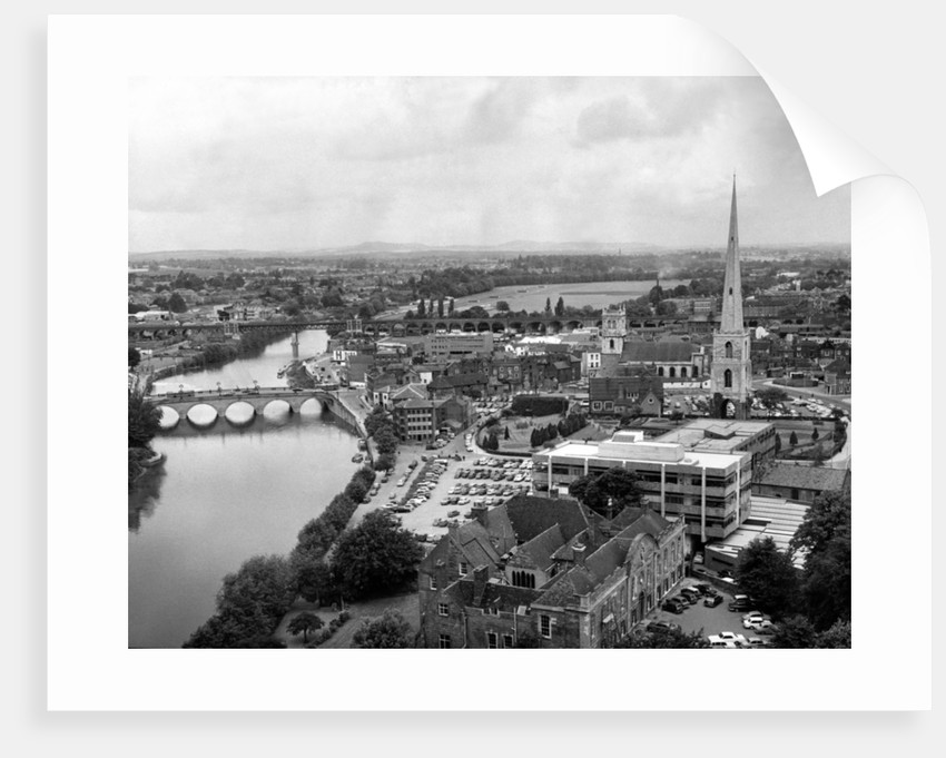 Worcester and the river crossings from the cathedral tower by Staff