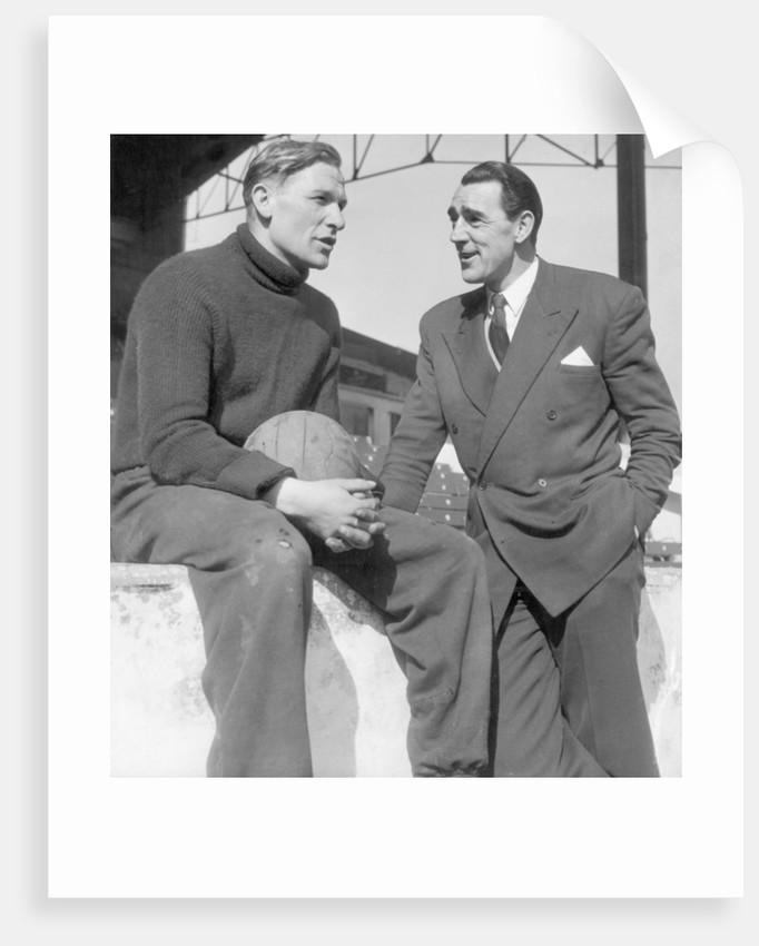 Frank Swift talking with Bert Trautmann by H. Hicklin