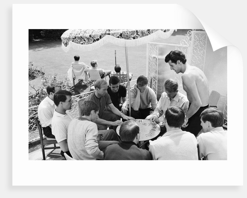 England players enjoy a game of cards at their base in Hendon by Staff