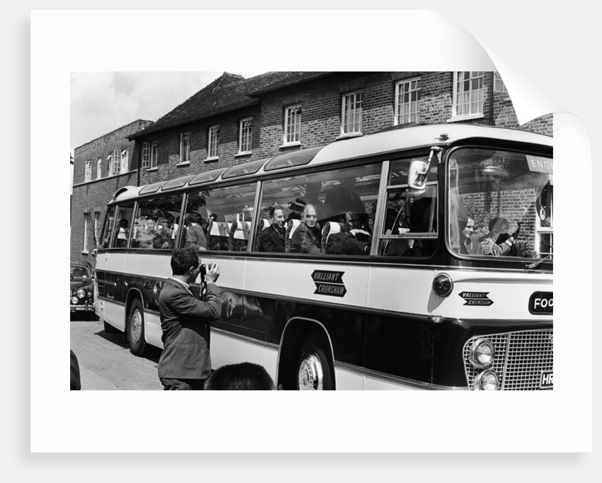The England football team travel to Wembley Stadium from Hendon Hall hotel for the World Cup Final by Staff