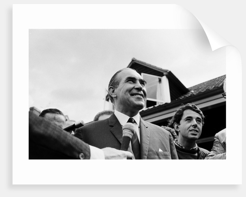 Alf Ramsey answers reporters' questions at the team base the day before the World Cup Final against West Germany by Anonymous