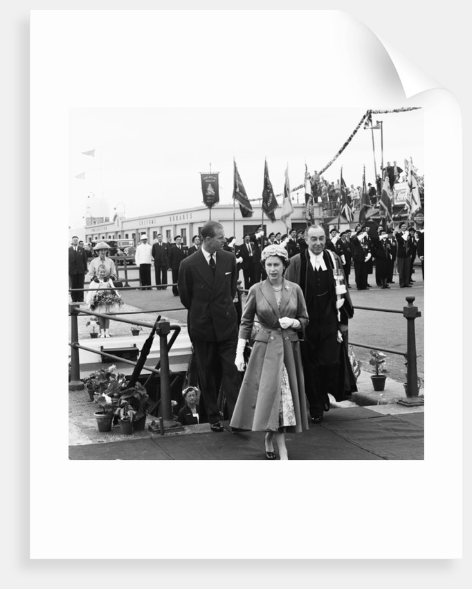 Queen Elizabeth II arriving at Albert Pier in Jersey by Malcolm MacNeil