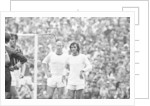 Bobby Charlton and George Best await a free kick 1969 by Monte Fresco