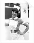 Anita Harris on the film set of Carry On Doctor. by Staff