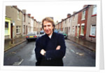 Alan Rickman, Actor, pictured on the streets of Barrow In Furness where he is due to play Hamlet, for the price of ﾿200 per week. by Stenning