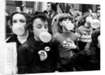 Children blowing bubble gum at Alexandra Palace by Charlie Ley