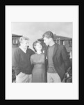 Denis Law with Huddersfield Town half back Gordon Low and his bride Brenda Normanton by John Varley