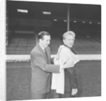 Manchester City new signing Denis Law with Ken Barnes trying his new shirt for size by Thomas