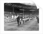 Manchester United and Leicester City walk out on to the pitch at Wembley, 1963 FA Cup Final by Staff