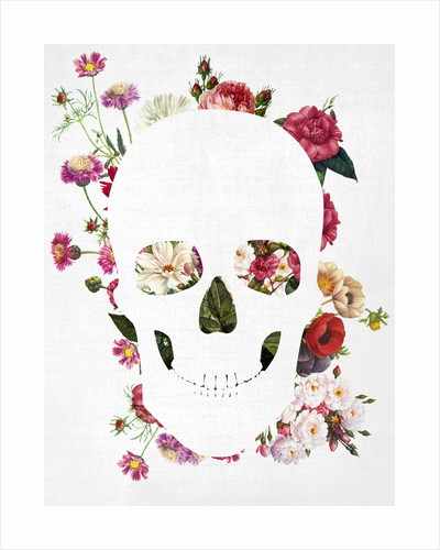 Skull Grunge Flower 2 by Francisco Valle