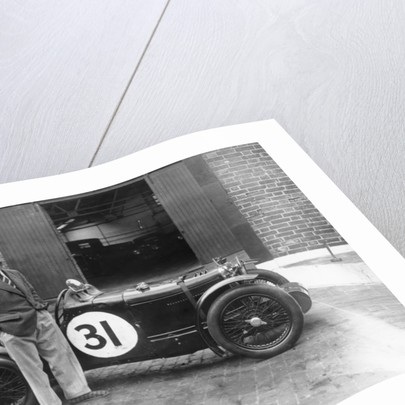 Cyril Paul with his MG C type by Anonymous