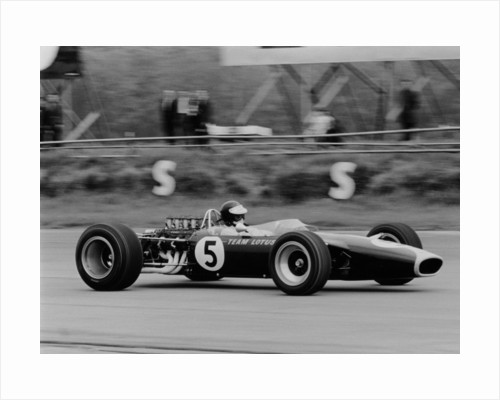 Jim Clark driving the Lotus 49 at the British Grand Prix by Anonymous