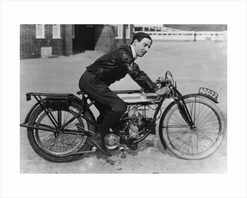 F Ball riding a 1913 Douglas motorbike by Anonymous