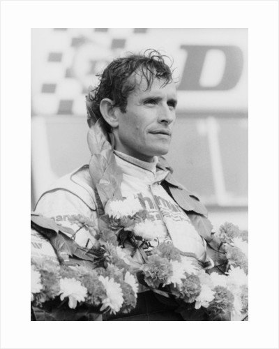 Jacky Ickx after winning the Silverstone 1000km, 1985 by Unknown