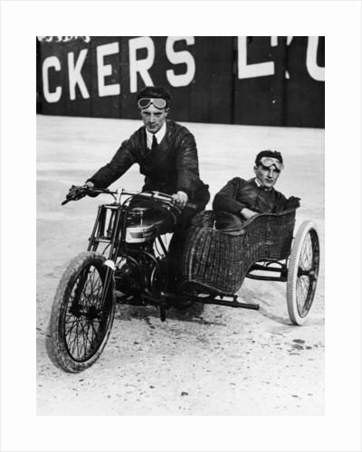 Tudor and Thompson riding a motorcycle and sidecar by Anonymous