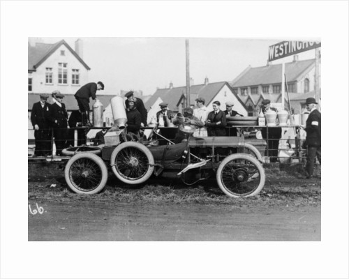 T Thornycroft with his Thornycroft car at a TT race by Anonymous