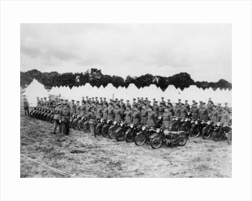 Sir Malcolm Campbell inspecting Territorial Army motorcycle reservists by Anonymous