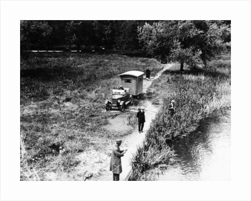 Lagonda towing a caravan by Anonymous