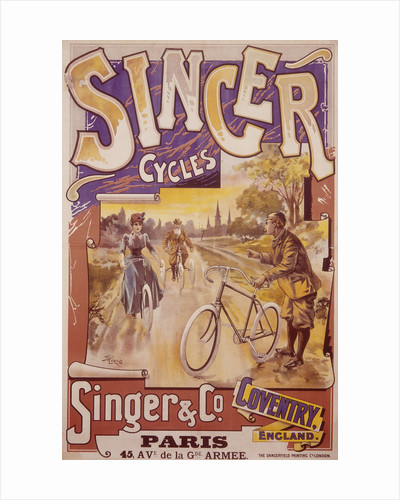 Poster advertising Singer bicycles, late 19th-early 20th century by Unknown