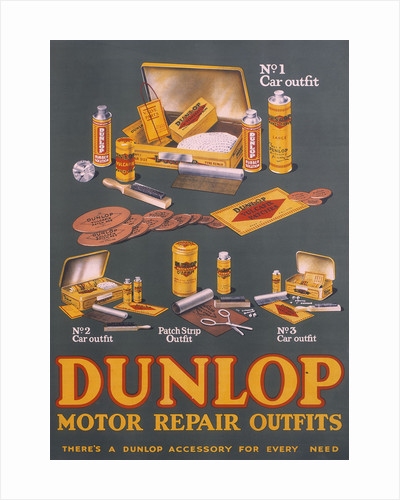 Poster advertising Dunlop products by Anonymous