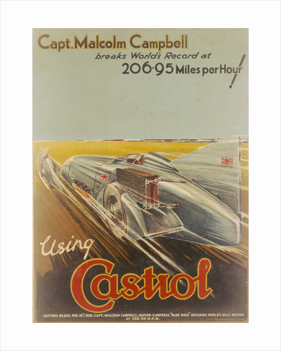 Poster advertising Castrol, featuring Bluebird by NF Humphries