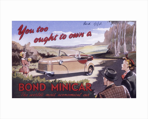 Poster advertising a Bond Minicar by Anonymous